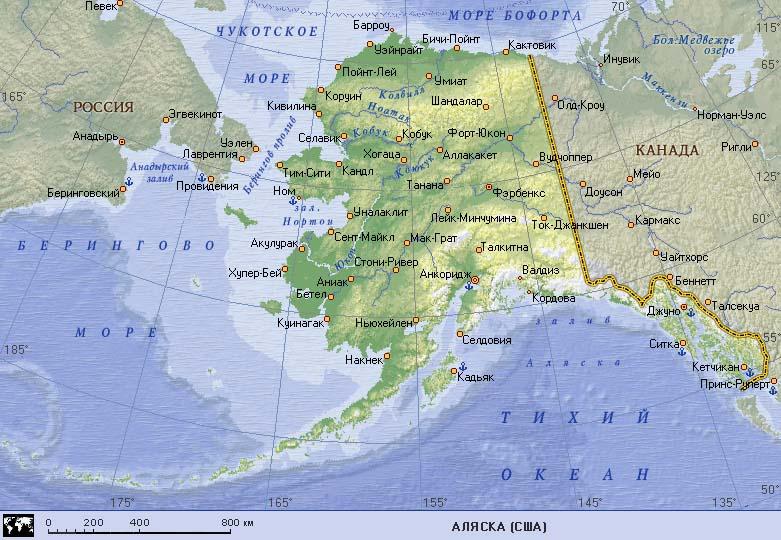 Карта США. Карта штата Аляска, карта Аляски